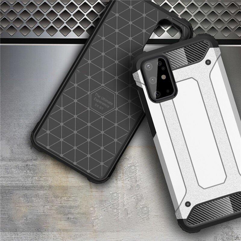 Hybrid pancierové polykarbonátové púzdro na Samsung Galaxy S20 Plus silver