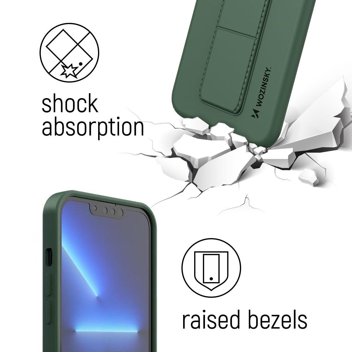 Wozinsky Flexibilné silikónové puzdro so stojanom na Samsung Galaxy S20 FE 5G yellow