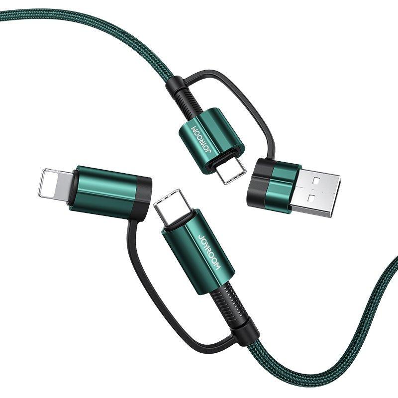 Joyroom S-1230G3 odolný nylonom opletený multifunkčný kábel 4v1 3A 1,2m green