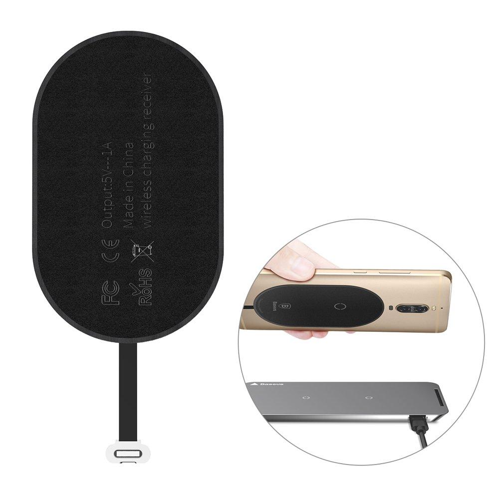 Přijímač bezdrátového nabíjení Baseus Qi pro chytré telefony s portem USB-C black (WXTE-B01)
