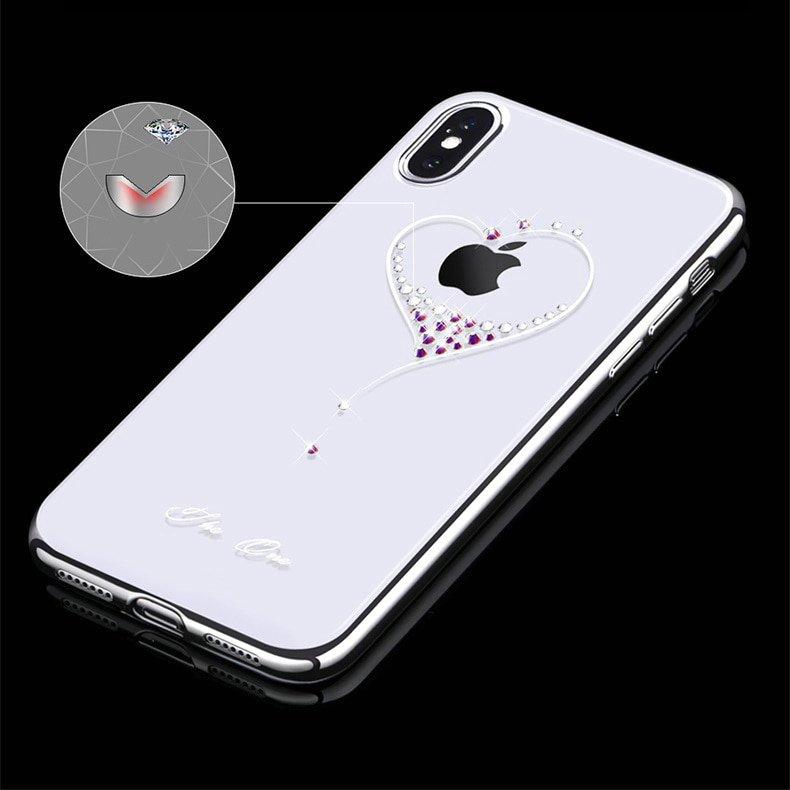 Kingxbar Wish Series silikonové pouzdro s original Swarovski crystals pro iPhone 11 Pro black