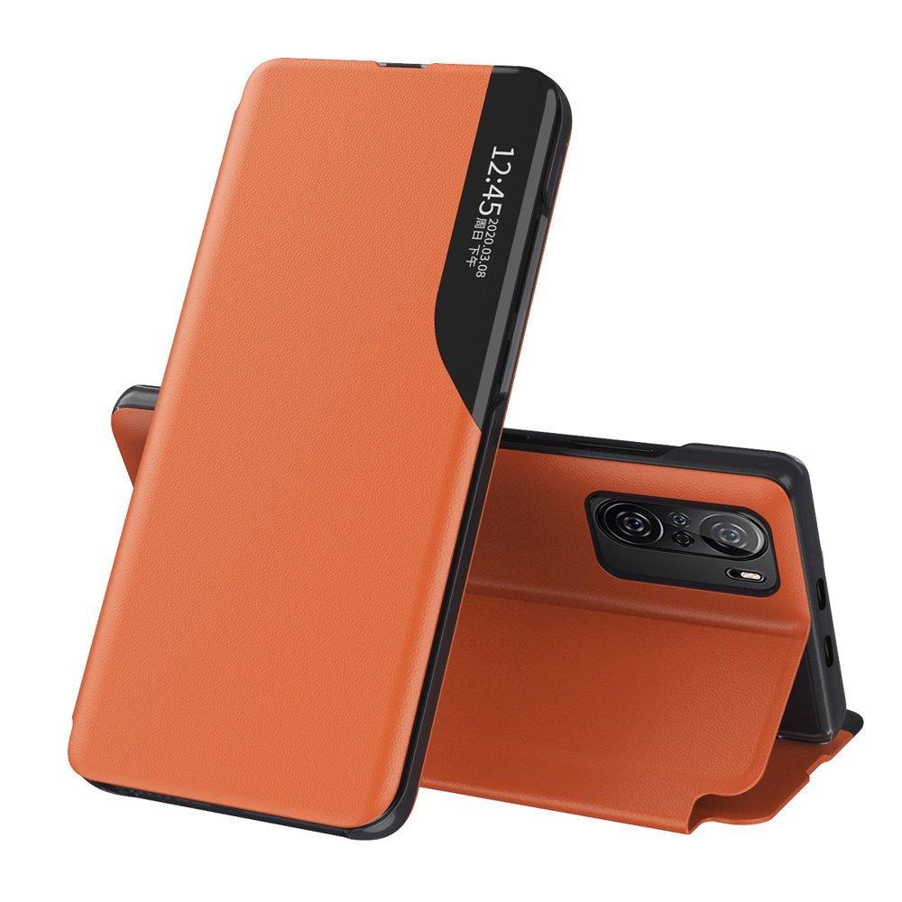 Knížkové puzdro s imitáciou kože pre Xiaomi Poco F3 / Mi 11i orange