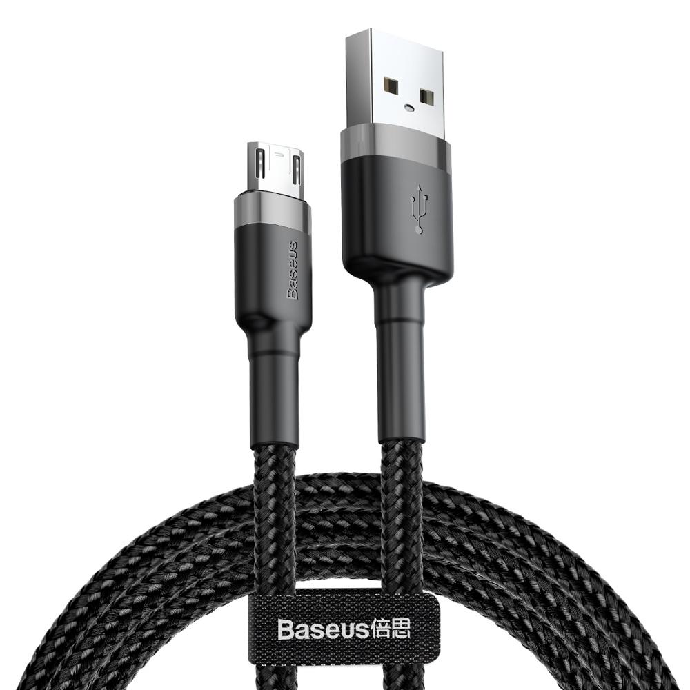 Baseus Cafule extra odolný nylonem opletený kábel USB / Micro USB QC3.0 2,4A 0,5m black-grey