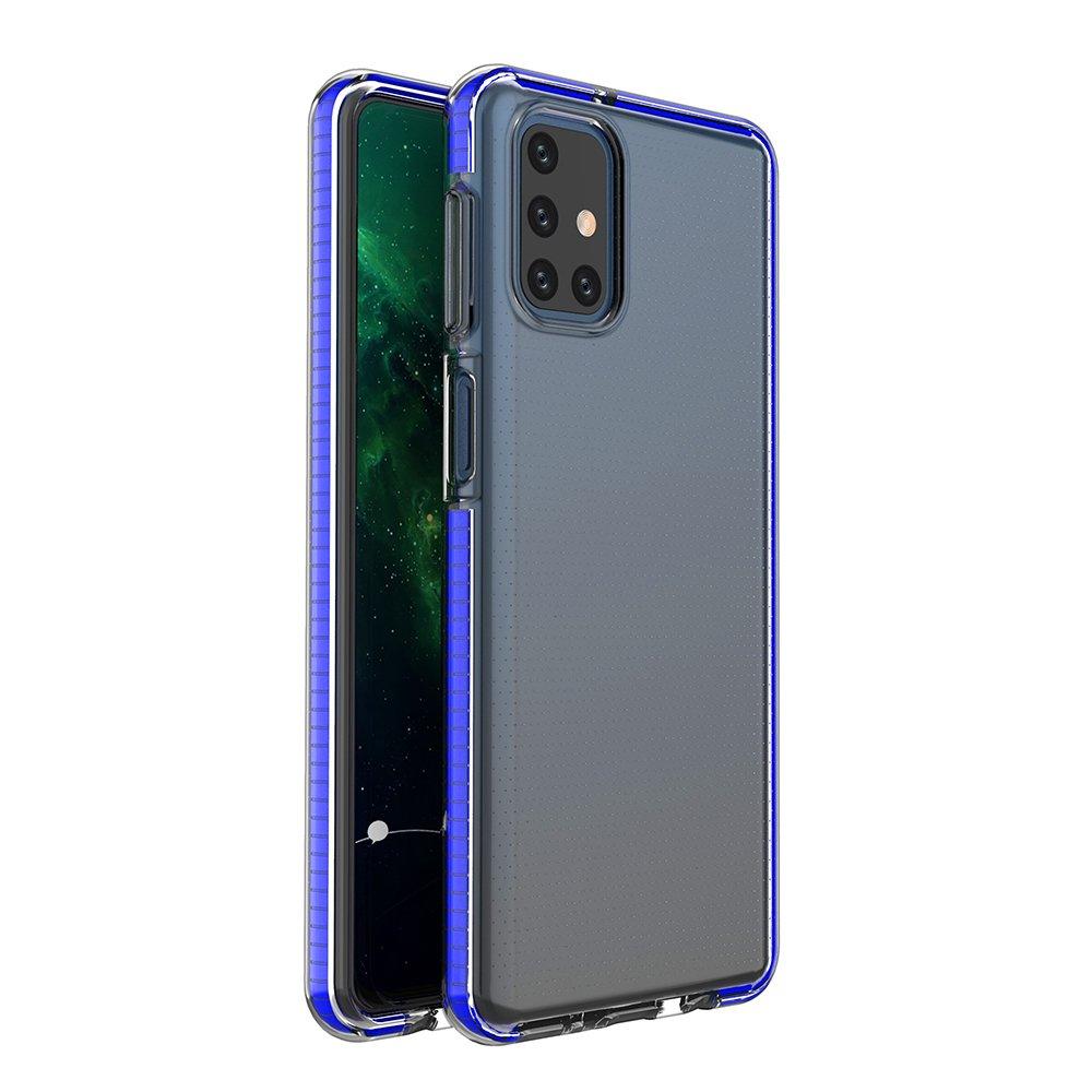 Spring silikónové puzdro s farebným lemom pre Samsung Galaxy M51 blue