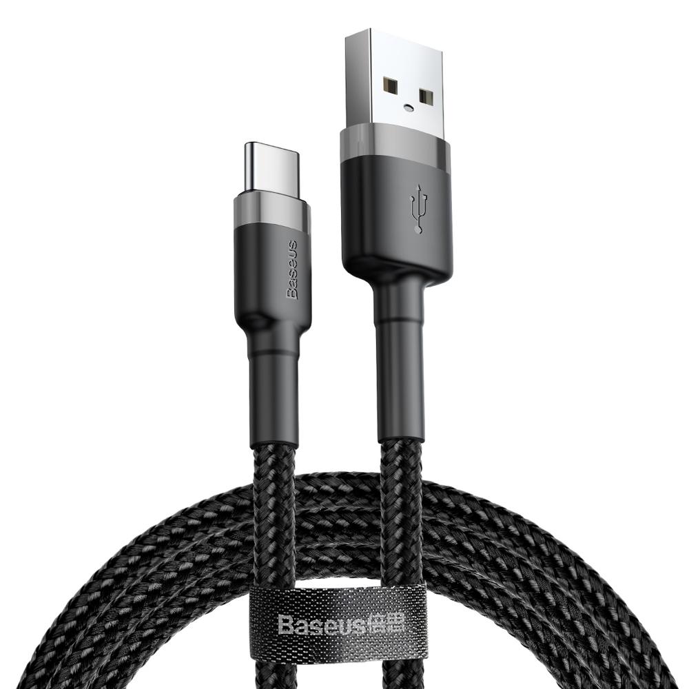 Baseus Cafule extra odolný nylonem opletený kábel USB / USB-C QC3.0 3A 0,5m black-grey