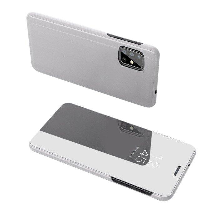 Knižkove púzdro pre Samsung Galaxy S20 silver s priehľadnou prednou stranou