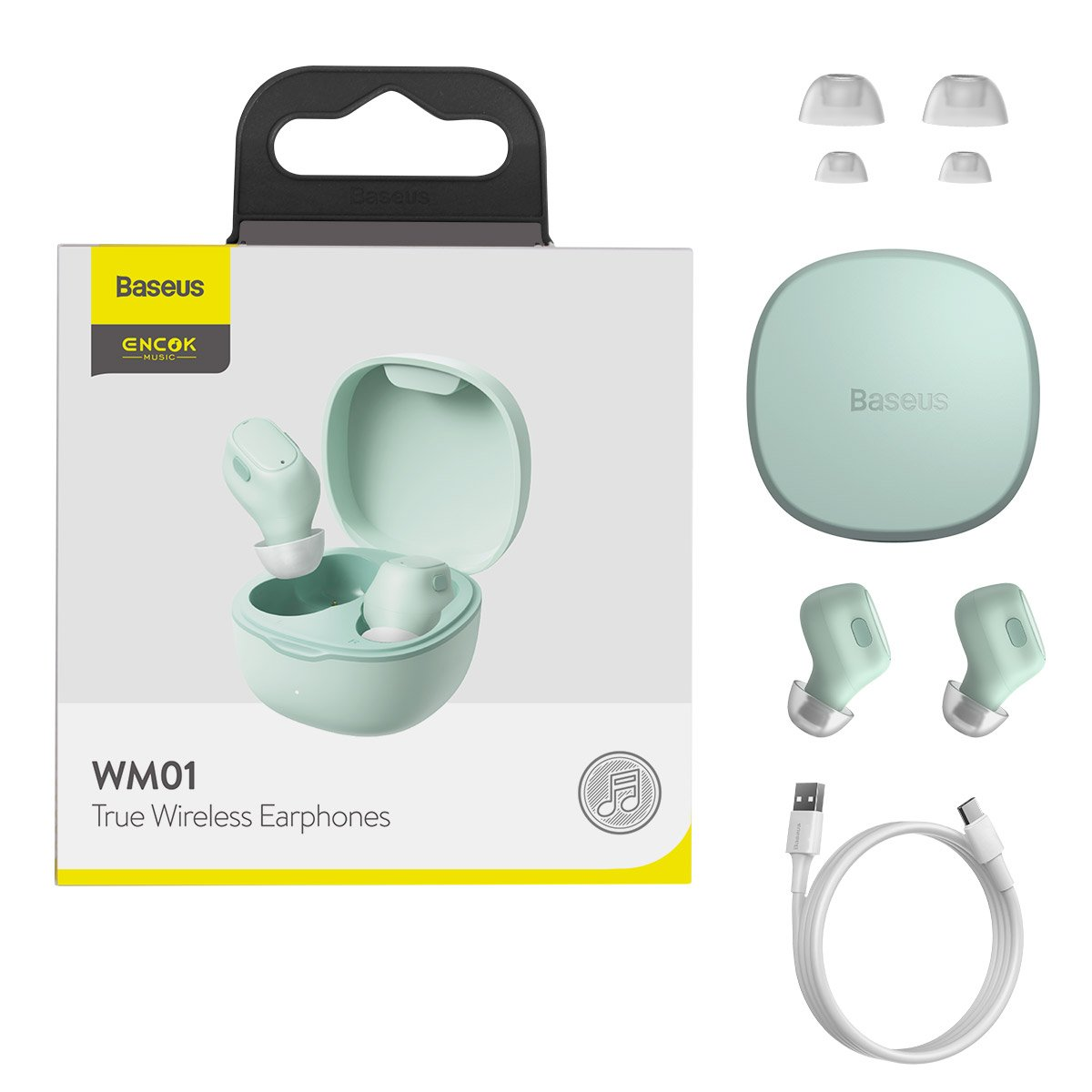 Baseus Encok WM01 TWS Bezdrôtové slúchadlá do uší Bluetooth 5.0 Green