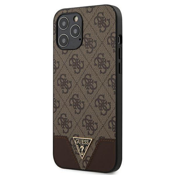 "Guess GUHCP12LPU4GHBRhard silikónové puzdro iPhone 12 Pro MAX 6.7"" brown 4G Triangle Collection"