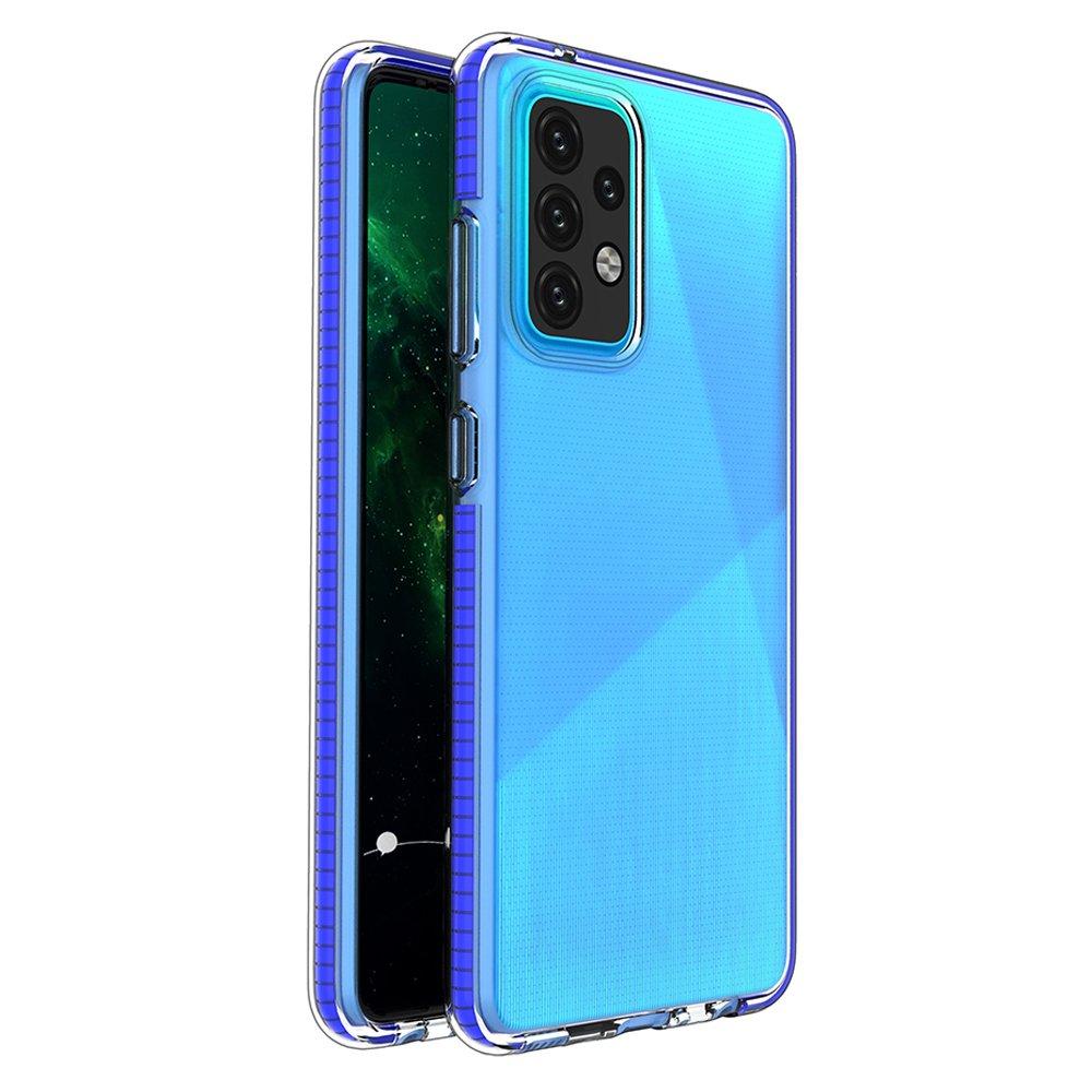 Spring silikónové puzdro s farebným lemom pre Samsung Galaxy A52 dark blue