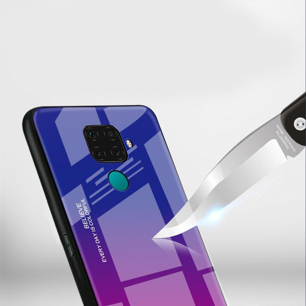 Gradient Glass tvrzené temperované sklo 9H na zadní část pro Huawei Mate 30 Lite / Huawei Nova 5i Pro black-blue