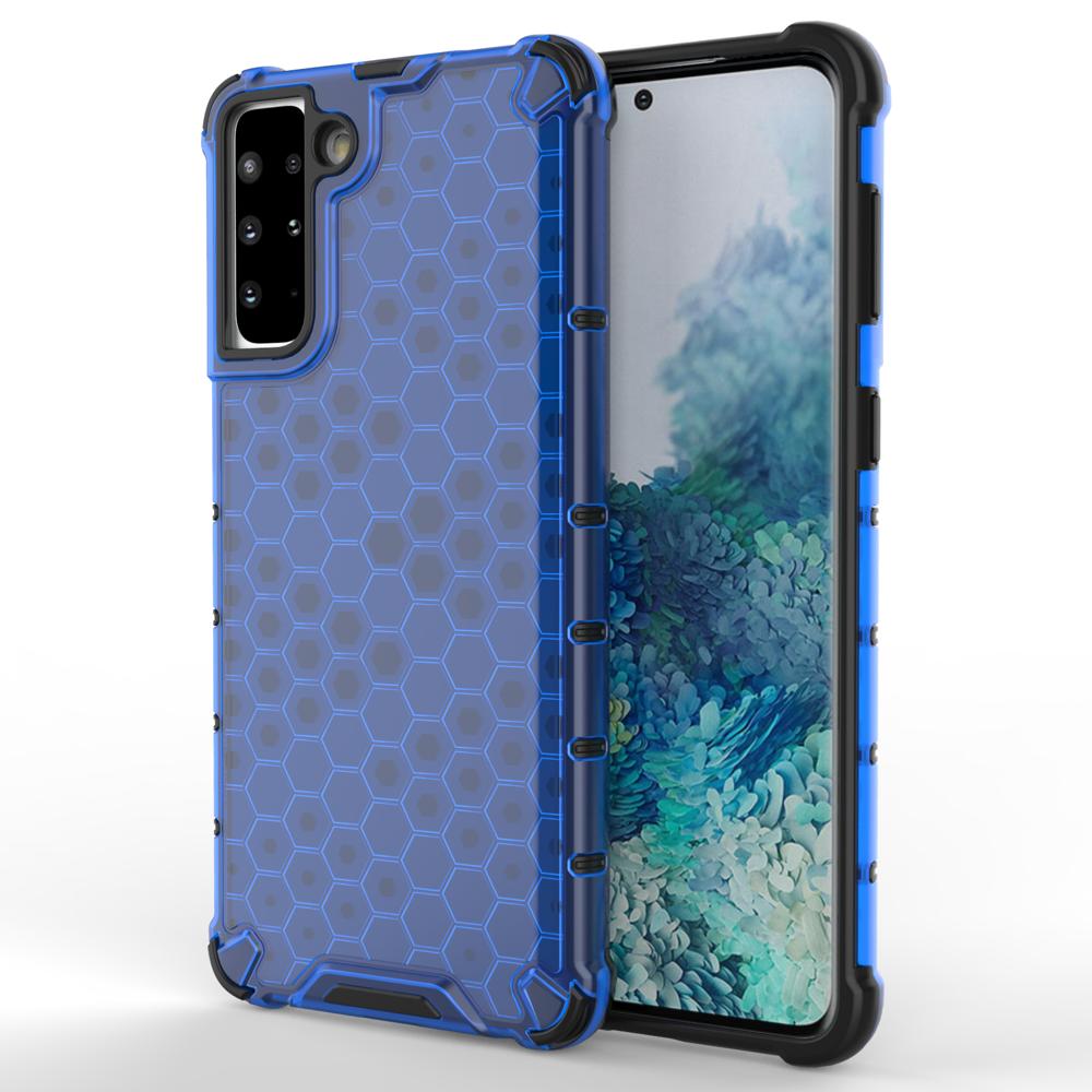 Honeycomb pancierové puzdro so silikónovým rámom pre Samsung Galaxy S21 PLUS 5G blue