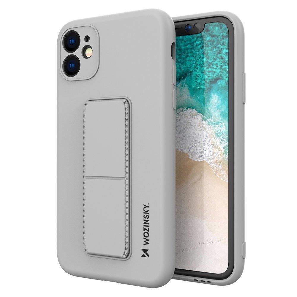 Wozinsky Flexibilné silikónové puzdro so stojanom na iPhone SE 2020 / iPhone 8 / iPhone 7 grey