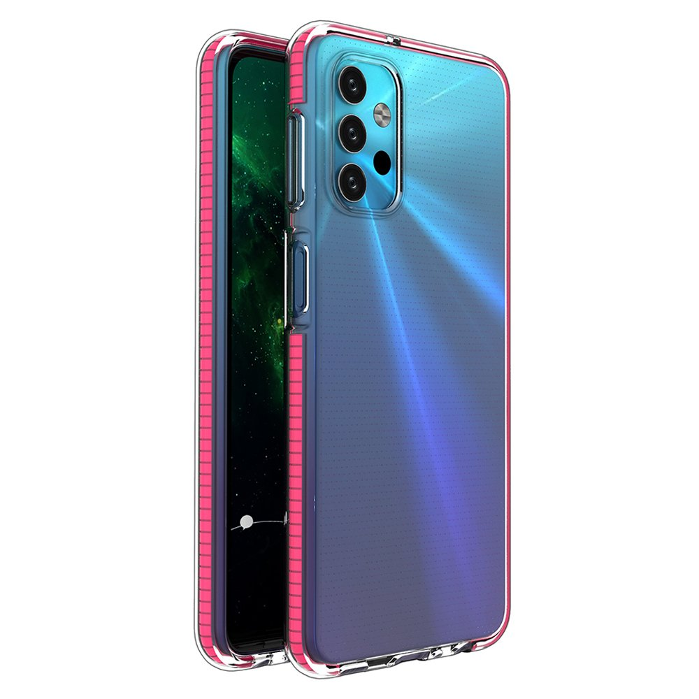 Spring silikonové pouzdro s barevným lemem na Samsung Galaxy A32 5G pink