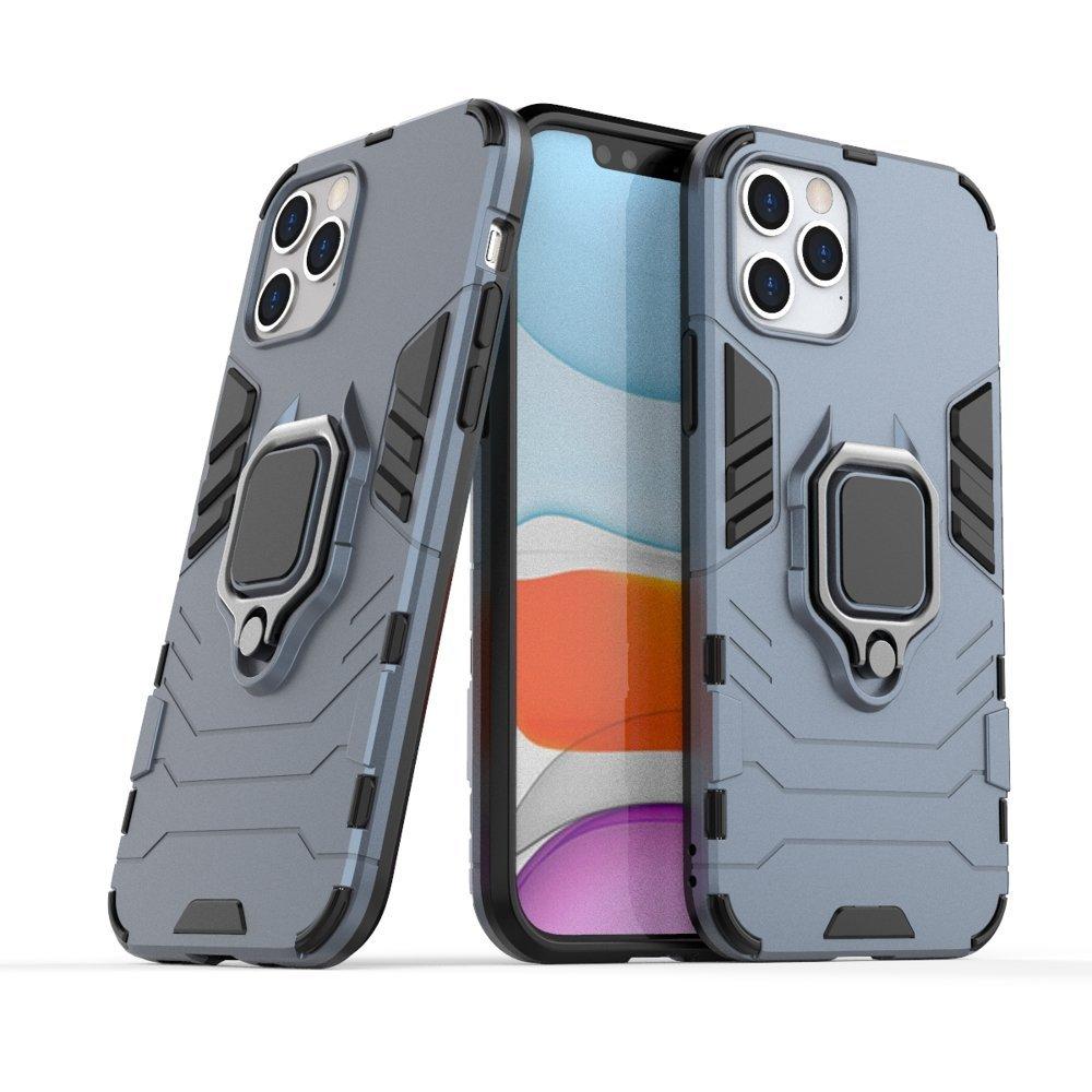 Pouzdro Ring Armor s magnetickým úchytem pro iPhone 12 Pro / iPhone 12 , modrá