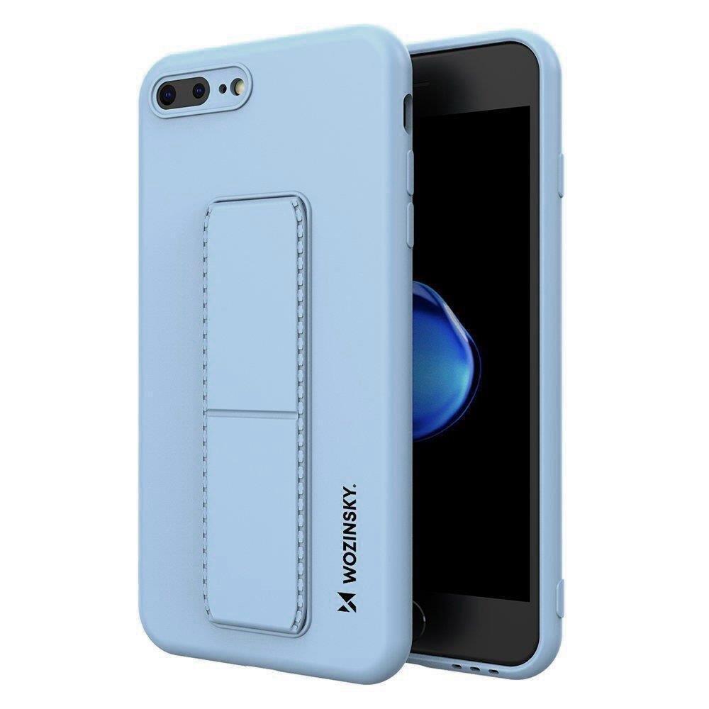 Wozinsky Flexibilné silikónové puzdro so stojanom na iPhone 8 Plus / iPhone 7 Plus light blue