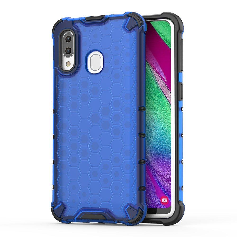 Honeycomb pancéřové pouzdro se silikonovým rámem pro Samsung Galaxy A40 blue