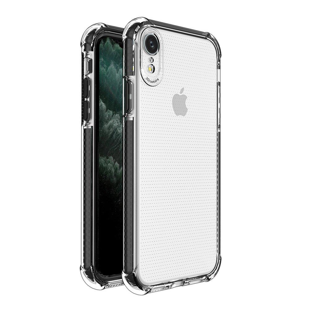 Spring Armor silikónové puzdro s farebným lemom pre iPhone XR black