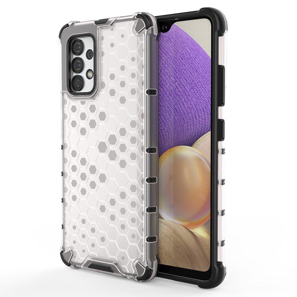 Honeycomb pancéřové pouzdro se silikonovým rámem pro Samsung Galaxy A32 4G transparent