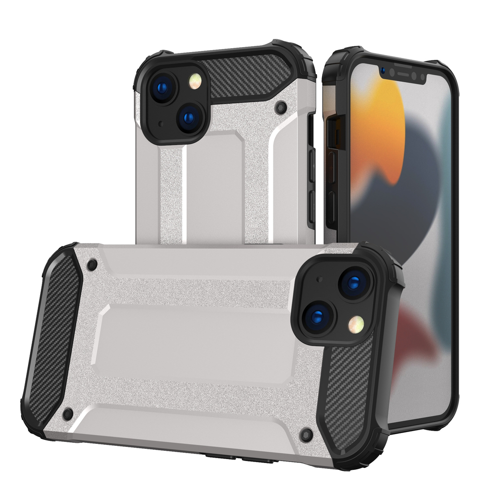 Hybrid pancierové polykarbonátové púzdro preiPhone 13 Mini silver