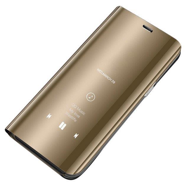 Knižkove púzdro na Samsung Galaxy S8 G950 golden s priehľadnou prednou stranou