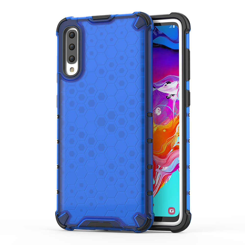 Honeycomb panceřované pouzdro se silikonovým rámem pro Samsung Galaxy A70 blue