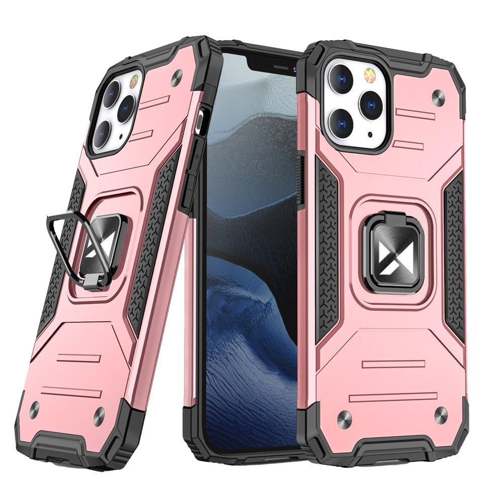 """Wozinsky Hybrid pancéřové pouzdro s kroužkem na iPhone 13 6.1"""" rose gold"""