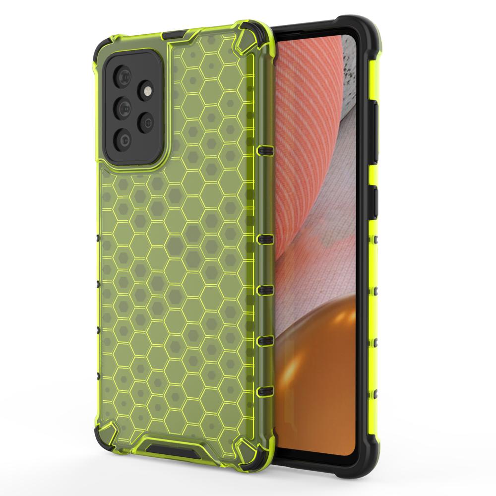 Honeycomb pancierové puzdro so silikónovým rámom pre Samsung Galaxy A72 / A72 5G green