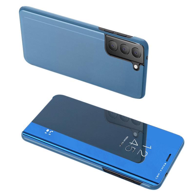 Knižkove púzdro pre Samsung Galaxy S21 FE 5G s priehľadnou prednou stranou blue