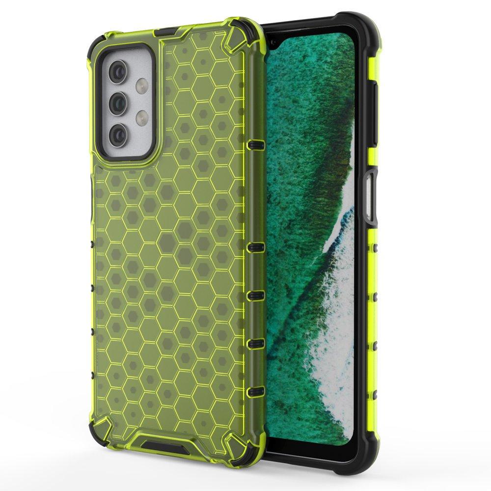 Honeycomb pancéřové pouzdro se silikonovým rámem pro Samsung Galaxy A32 5G green