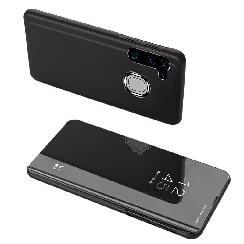 Knížkové pouzdro na Samsung Galaxy A21s Black s průhlednou přední stranou