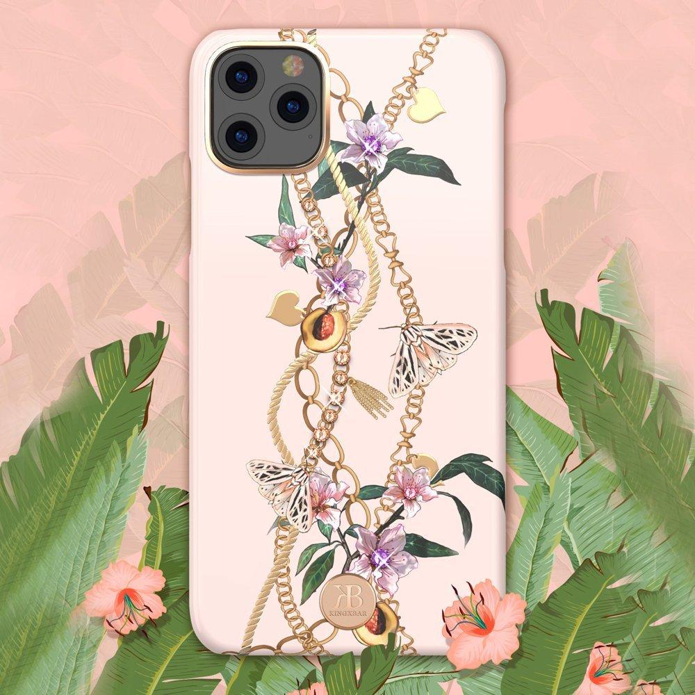 Kingxbar Luxury Series silikonové pouzdro s original Swarovski crystals pro iPhone 11 Pro Max pink