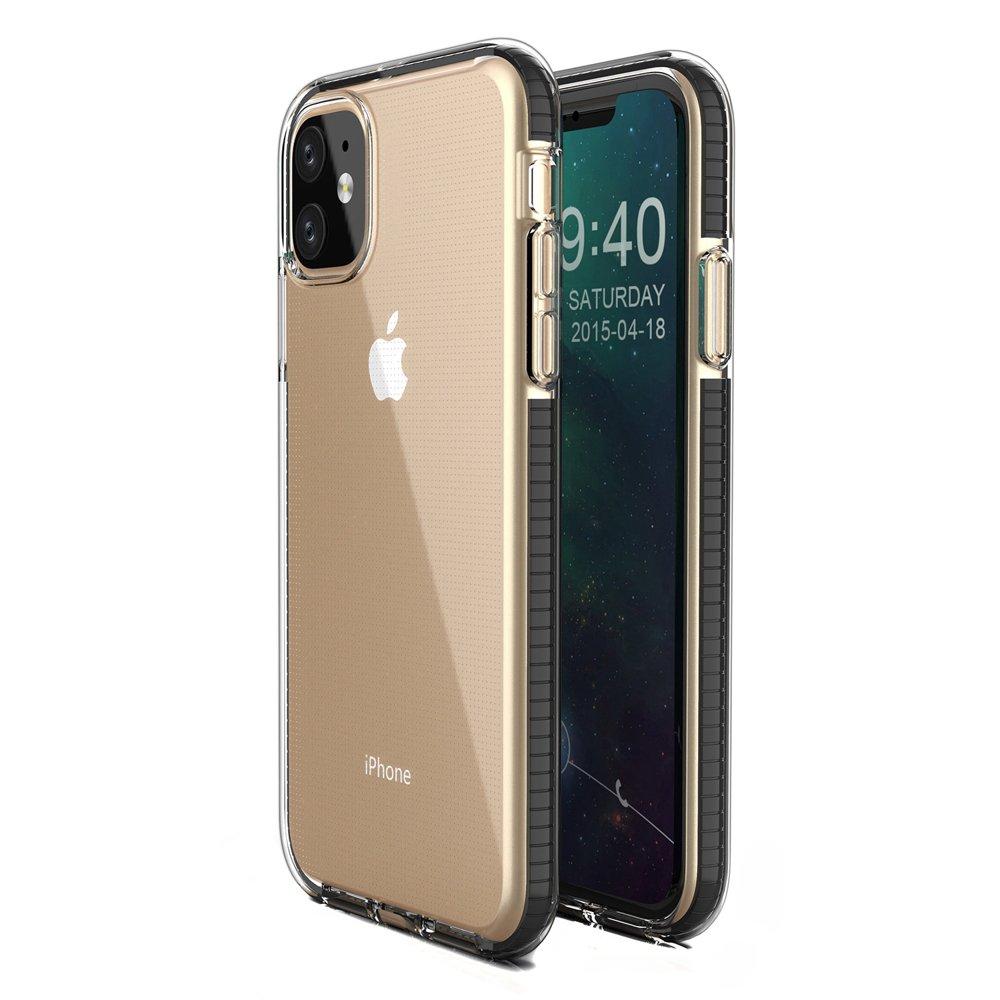 Spring silikonové pouzdro s barevným lemem pro iPhone 11 black