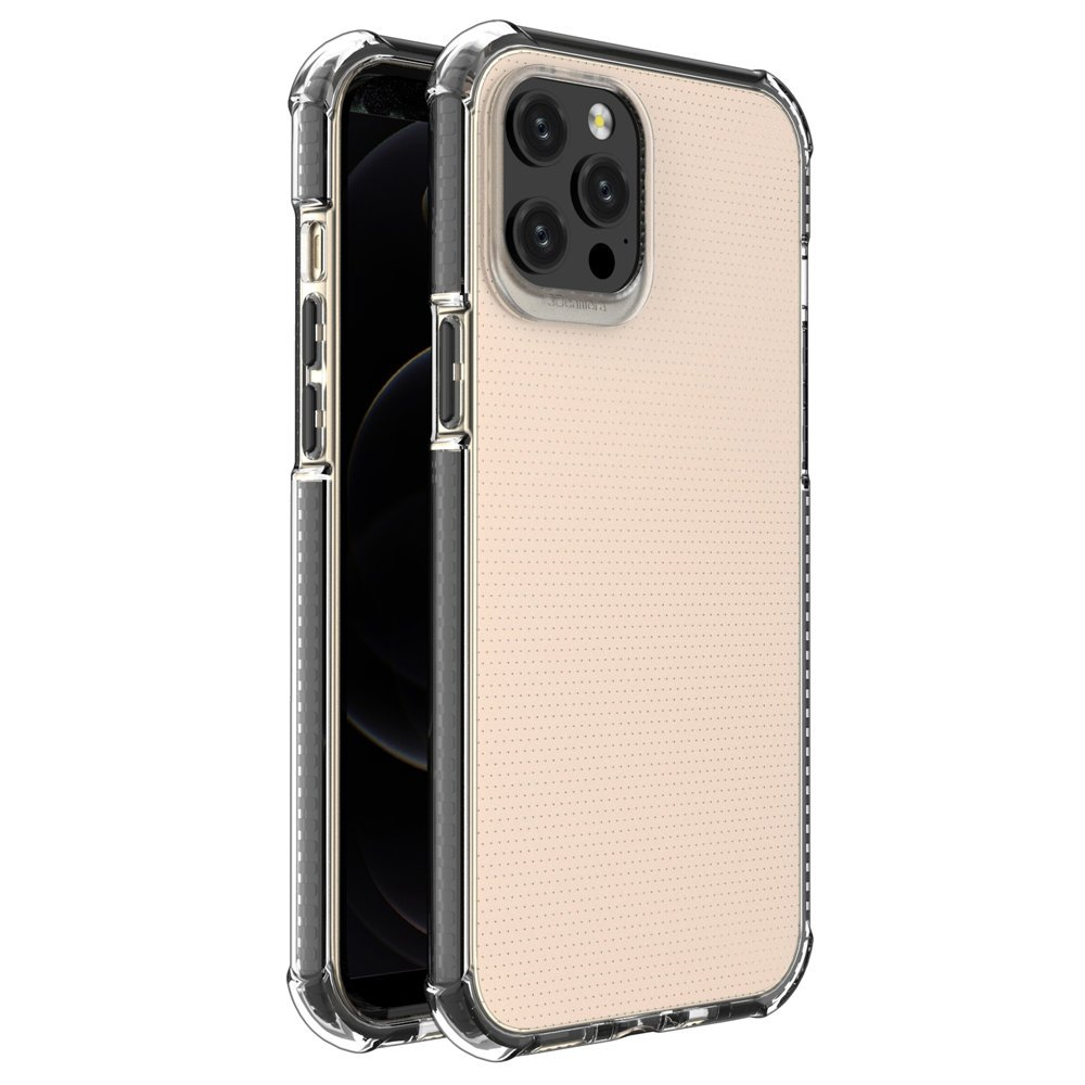 """Spring Armor silikonové pouzdro s barevným lemem na iPhone 12 Pro MAX 6,7"""" black"""