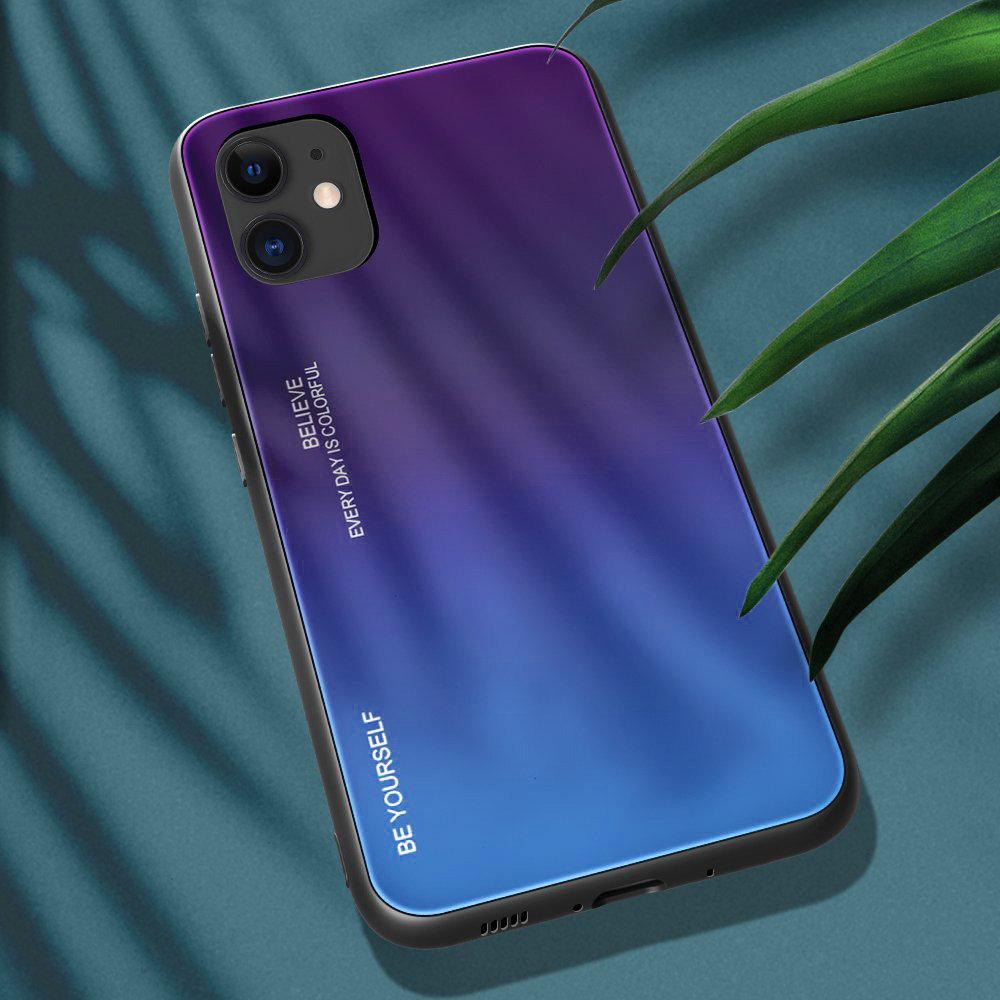 Gradient Glass pouzdro 9H na zadní část na iPhone 12 / 12 Pro green-purple