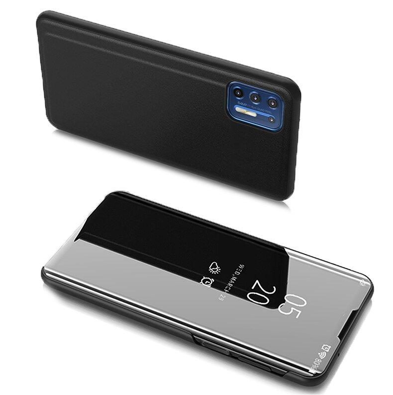 Knižkove púzdro pre Motorola Moto G9 Plus Black s priehľadnou prednou stranou