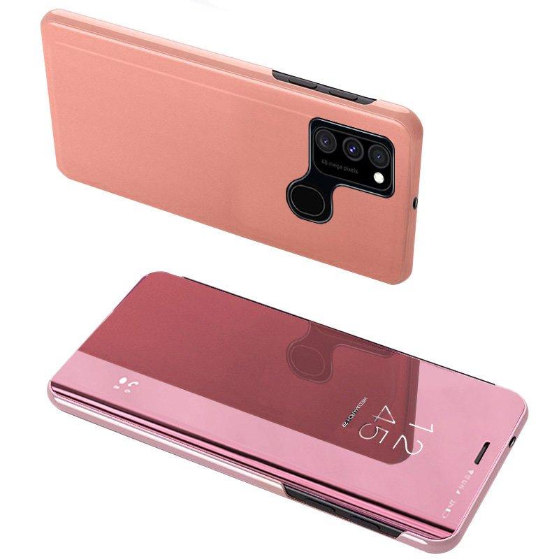Knížkové pouzdro na Samsung Galaxy A12/M12 s průhlednou přední stranou pink
