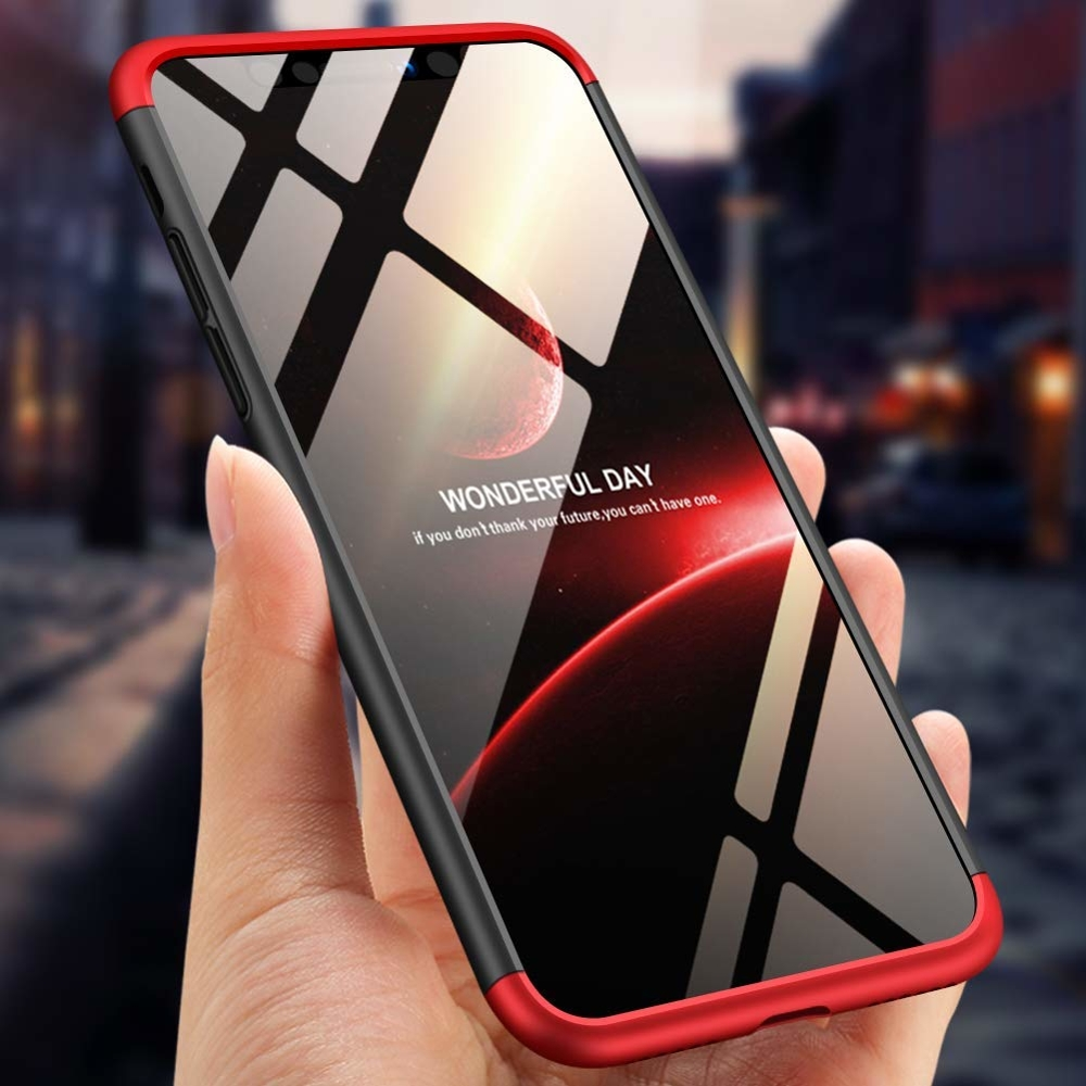 GKK 360 Protection pouzdro pro iPhone XS Max black-red (logo)