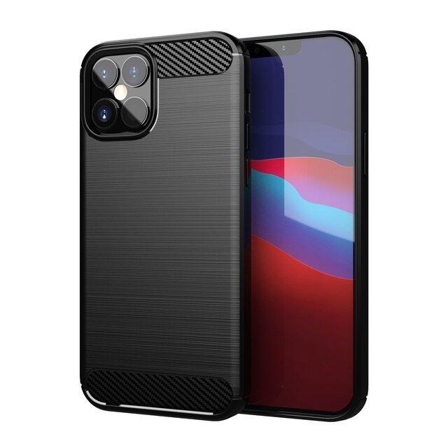 Carbon silikonové pouzdro na iPhone 12 / 12 Pro black
