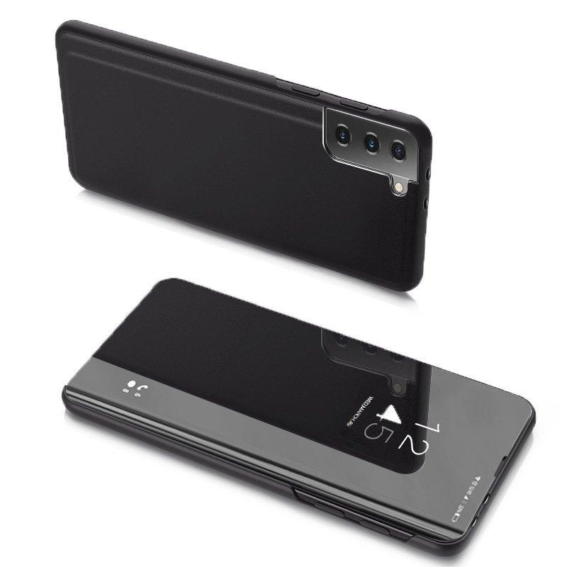 Knižkove púzdro pre Samsung Galaxy S21 ULTRA 5G s priehľadnou prednou stranou black