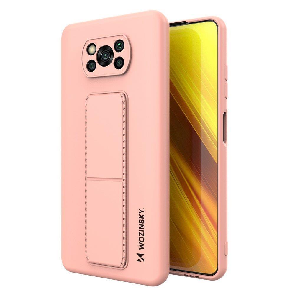 Wozinsky Flexibilní silikonové pouzdro se stojánkem na Xiaomi Poco X3 Pro / X3 NFC pink