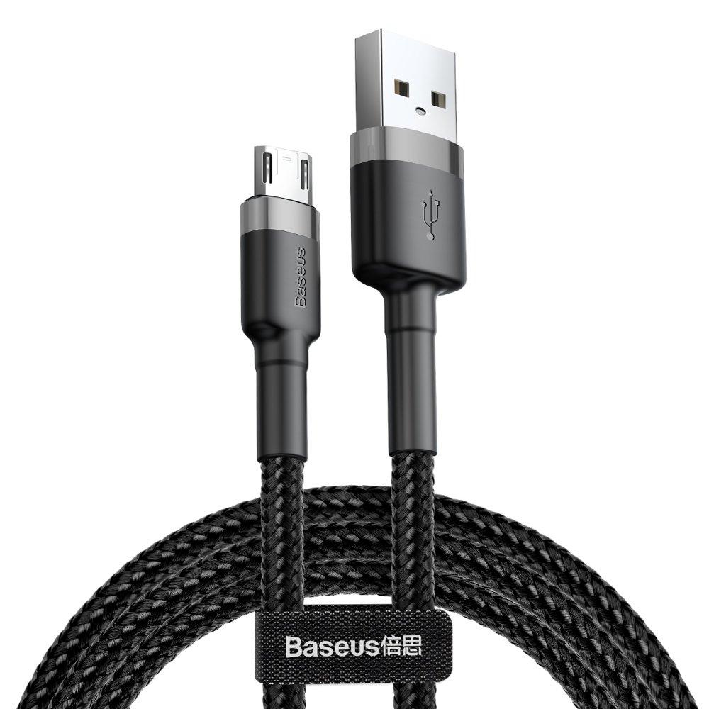 Baseus Cafule extra odolný nylonem opletený kábel USB / Micro USB QC3.0 2A 3m black-gray