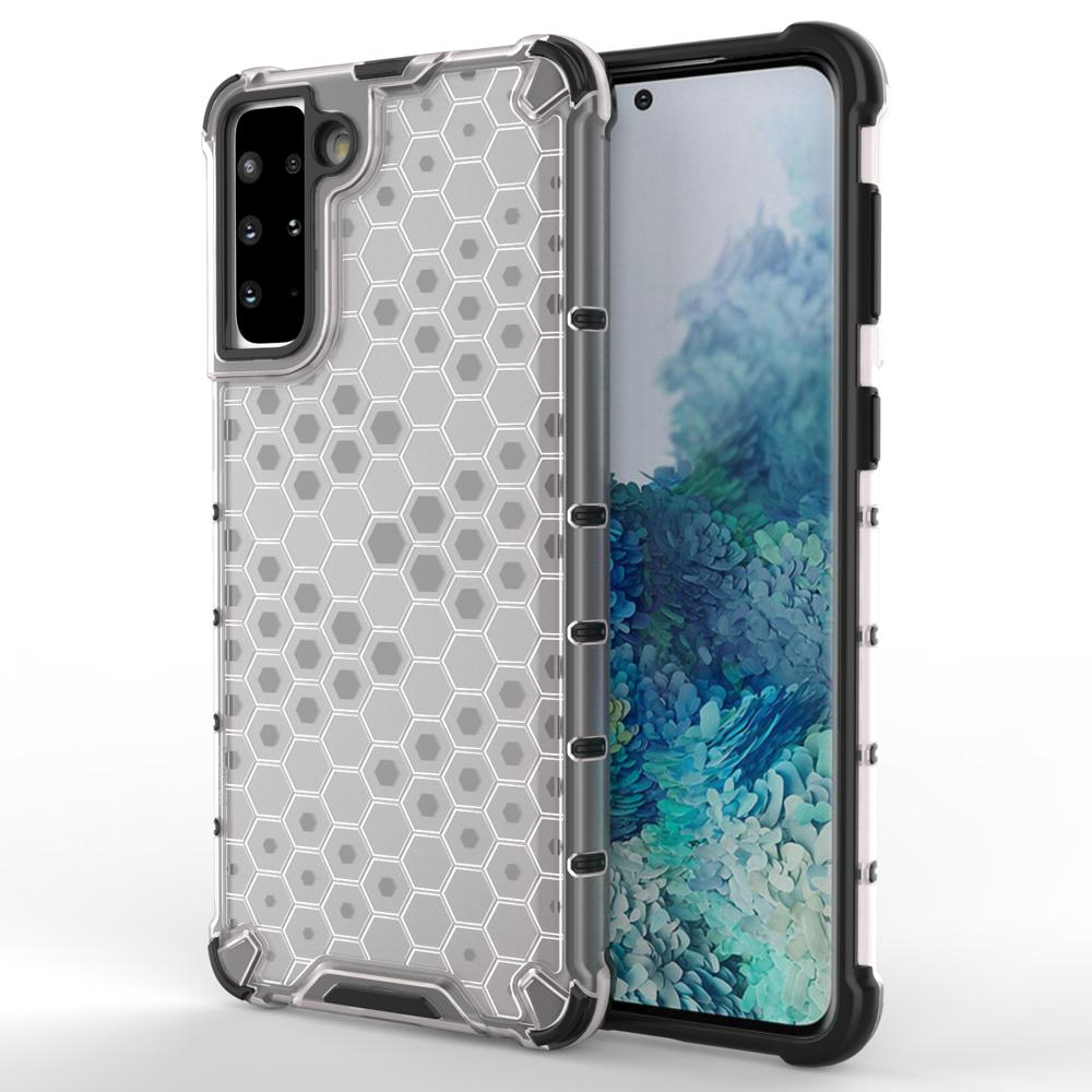 Honeycomb pancierové puzdro so silikónovým rámom pre Samsung Galaxy S21 PLUS 5G transparent