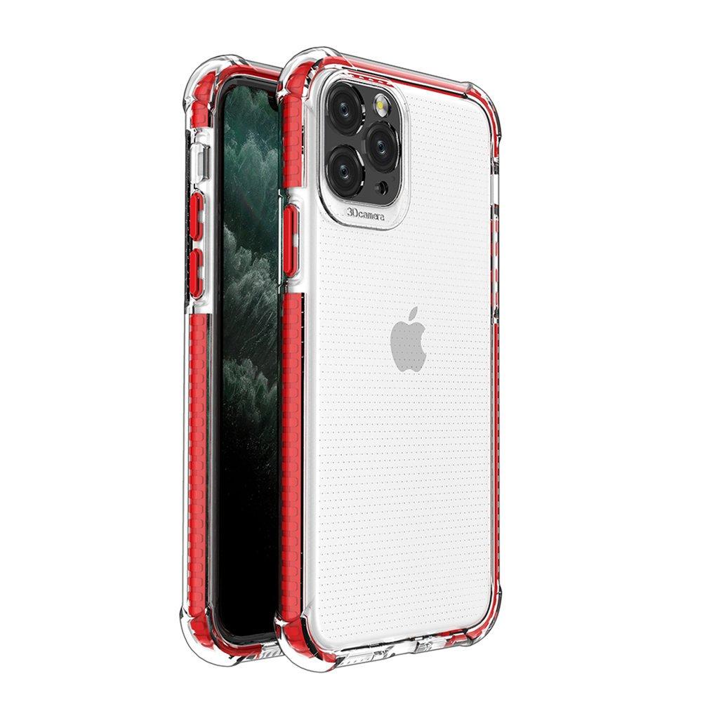 Spring Armor silikónové puzdro s farebným lemom pre iPhone 11 Pro red