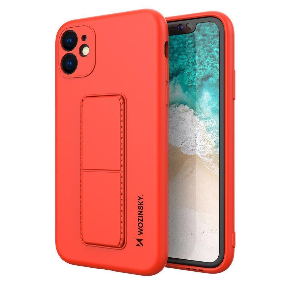 Wozinsky Flexibilné silikónové puzdro so stojanom na iPhone SE 2020 / iPhone 8 / iPhone 7 red