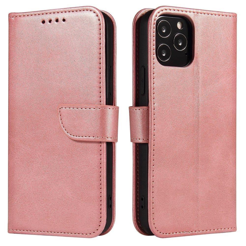 Kožené flipové pouzdro Magnet Case pro  iPhone 12 mini , růžová 9111201920682