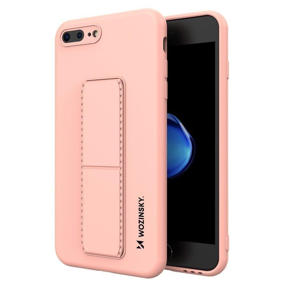 Wozinsky Flexibilné silikónové puzdro so stojanom na iPhone 8 Plus / iPhone 7 Plus pink
