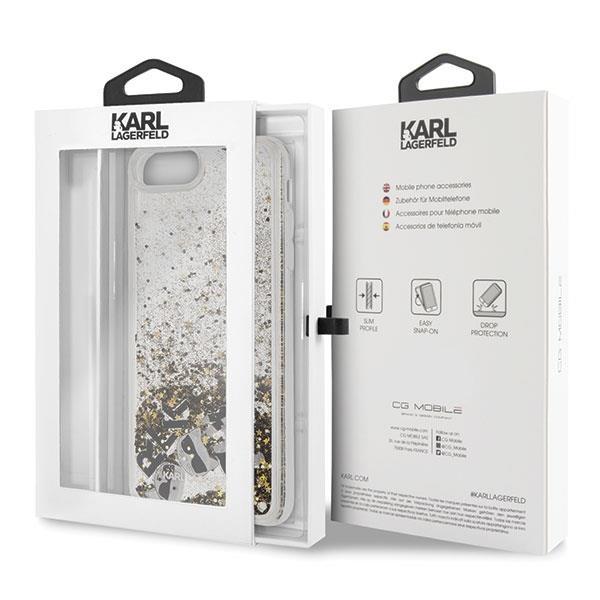 Karl Lagerfeld KLHCI8LROGO hard silikonové pouzdro iPhone 8 Plus / iPhone 7 Plus black & gold Glitter