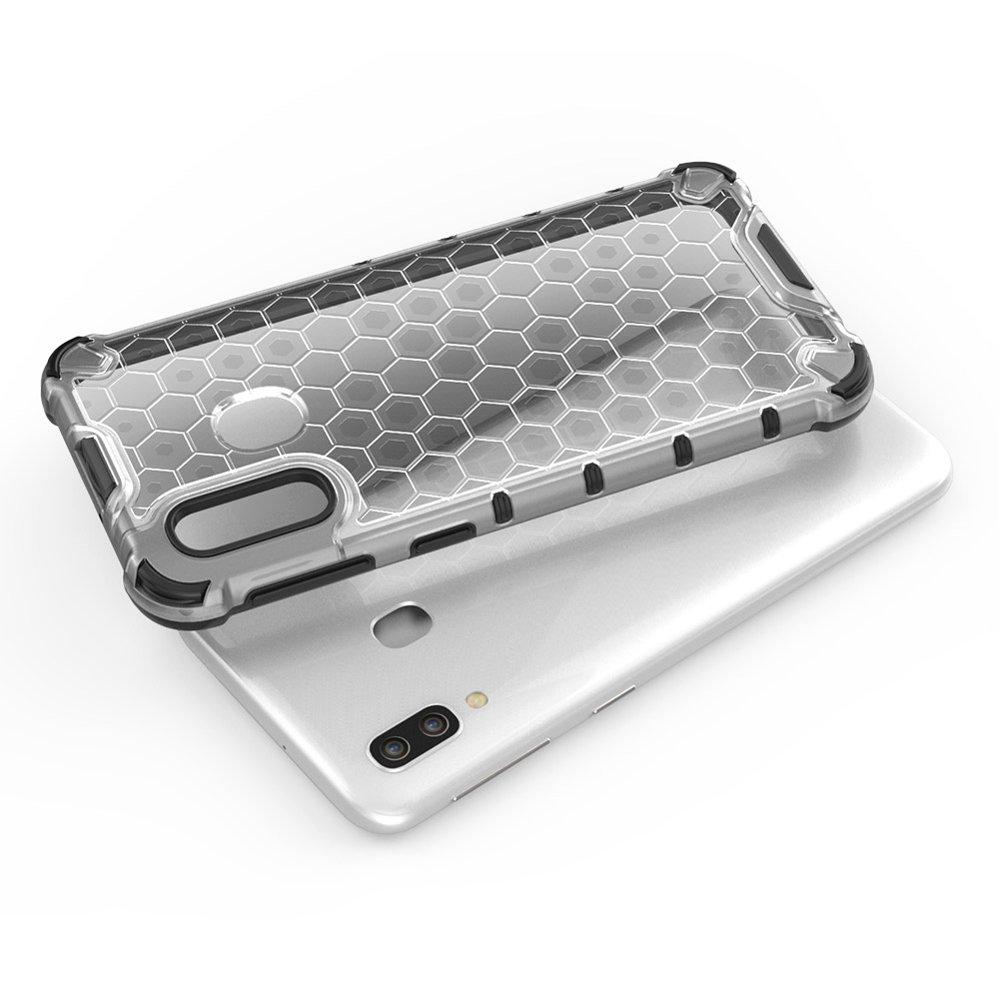 Honeycomb pancéřové pouzdro se silikonovým rámem pro Samsung Galaxy A40 green