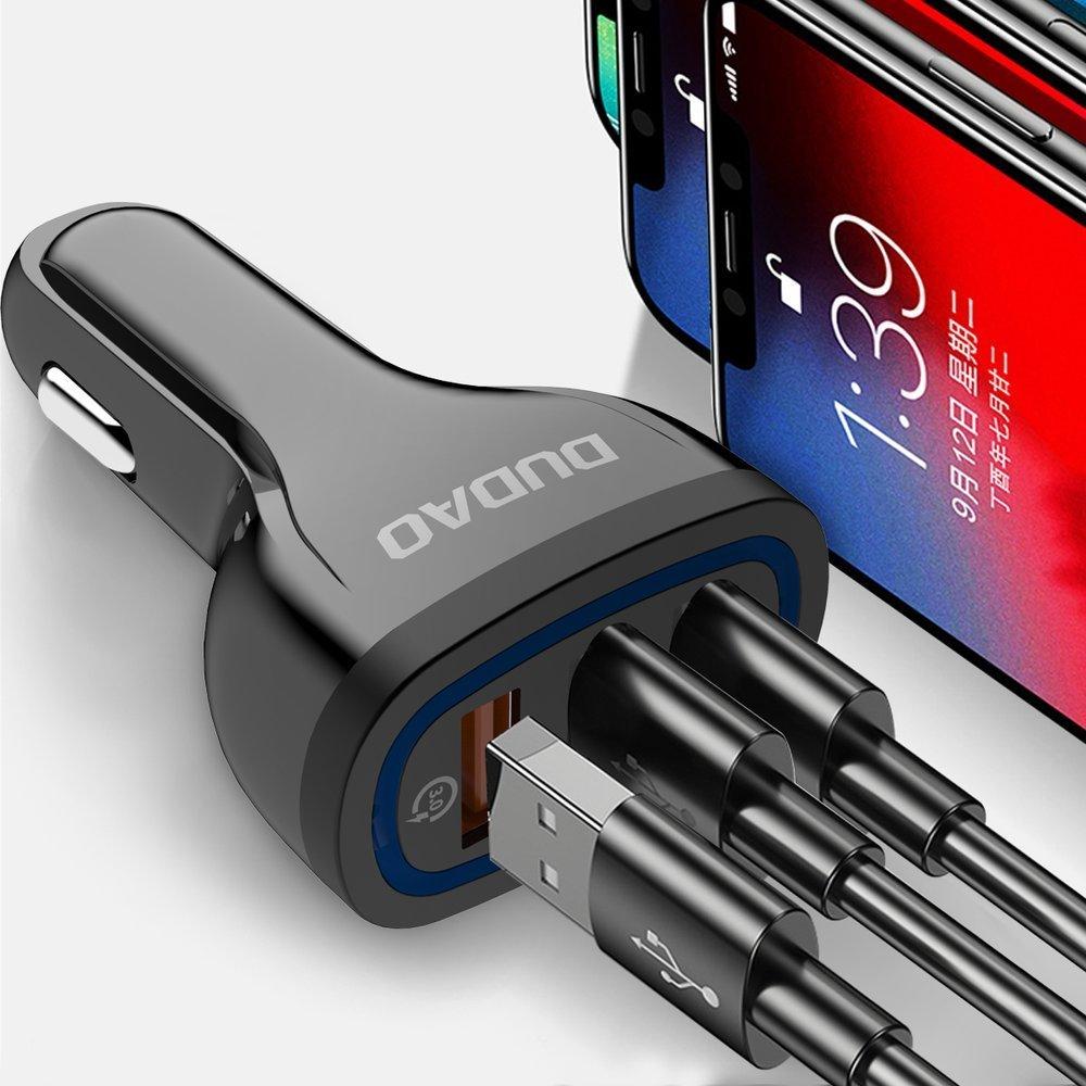 CL adaptér Dudao R7S 3 x USB Quick Charge 3.0 QC 3.0 2,4A 18W black