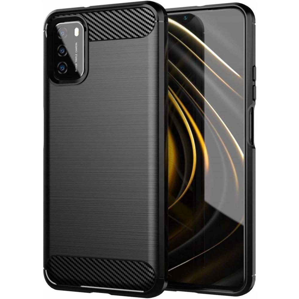 Carbon silikonové pouzdro na Xiaomi Poco M3 black
